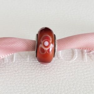 Pandora Red Flower Glass Charm